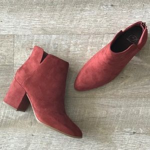 Delicious Shoes Locate Rust Suede Heeled Bootie.